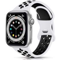 Sport Band Compatible with Apple Watch 38mm 40mm Women Men, Breathable Silicone Replacement Wristband for iWatch Series 1/2/3/4/5/6/SE, White/Black, Small