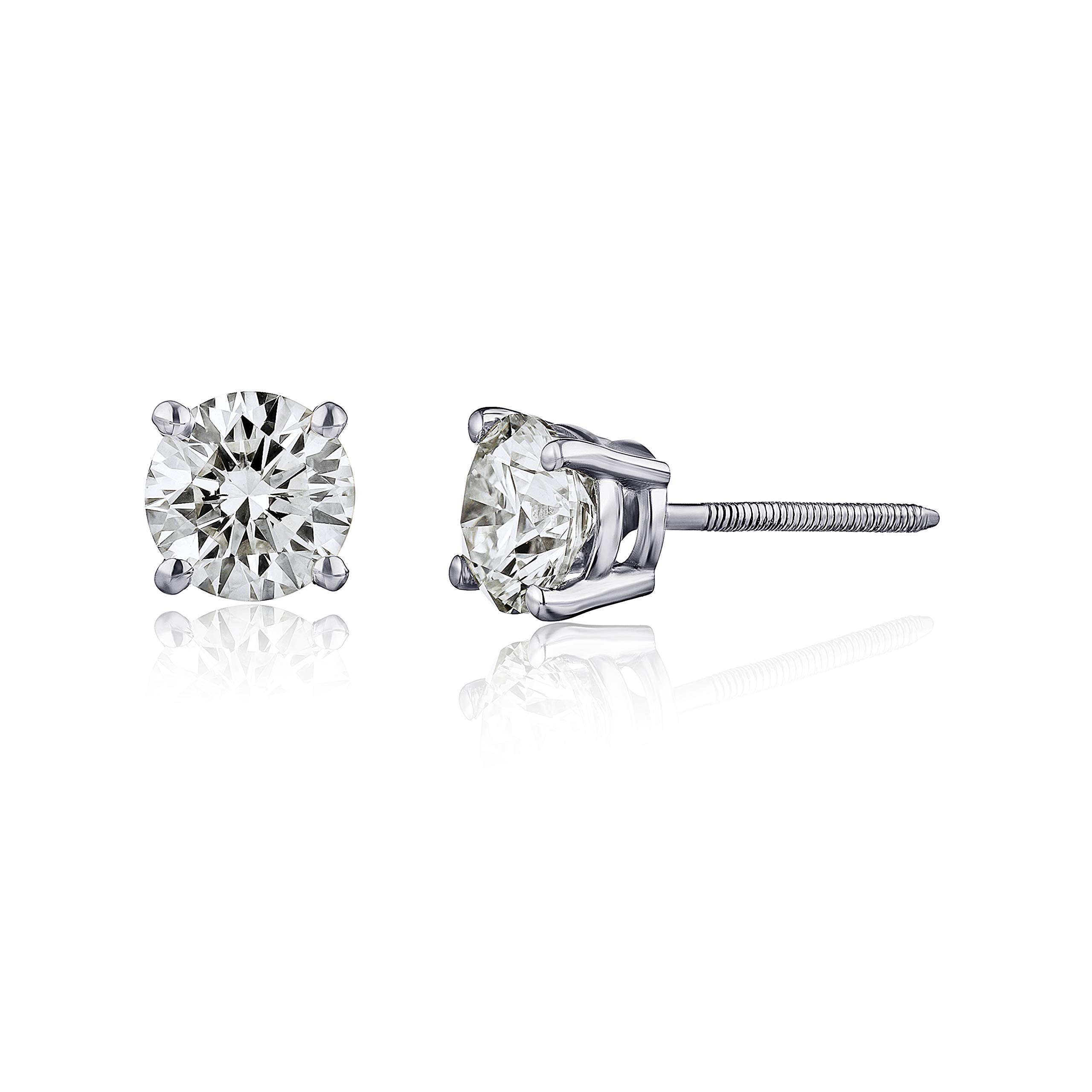 AGS Certified Diamond Earrings For Women in 14K Gold with Screw Back and Post Studs (I1-I2 Clarity), Choice of Carat Weights