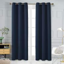 Deonovo Room Darkening Curtains with Grommets Blackout Thermal Insulated Noise Reducing Pair of Shades for Adults Bedroom Kids Baby Girl Boy Nursery Hall, Set of 2, Each Panel 42x95 in, Navy Blue