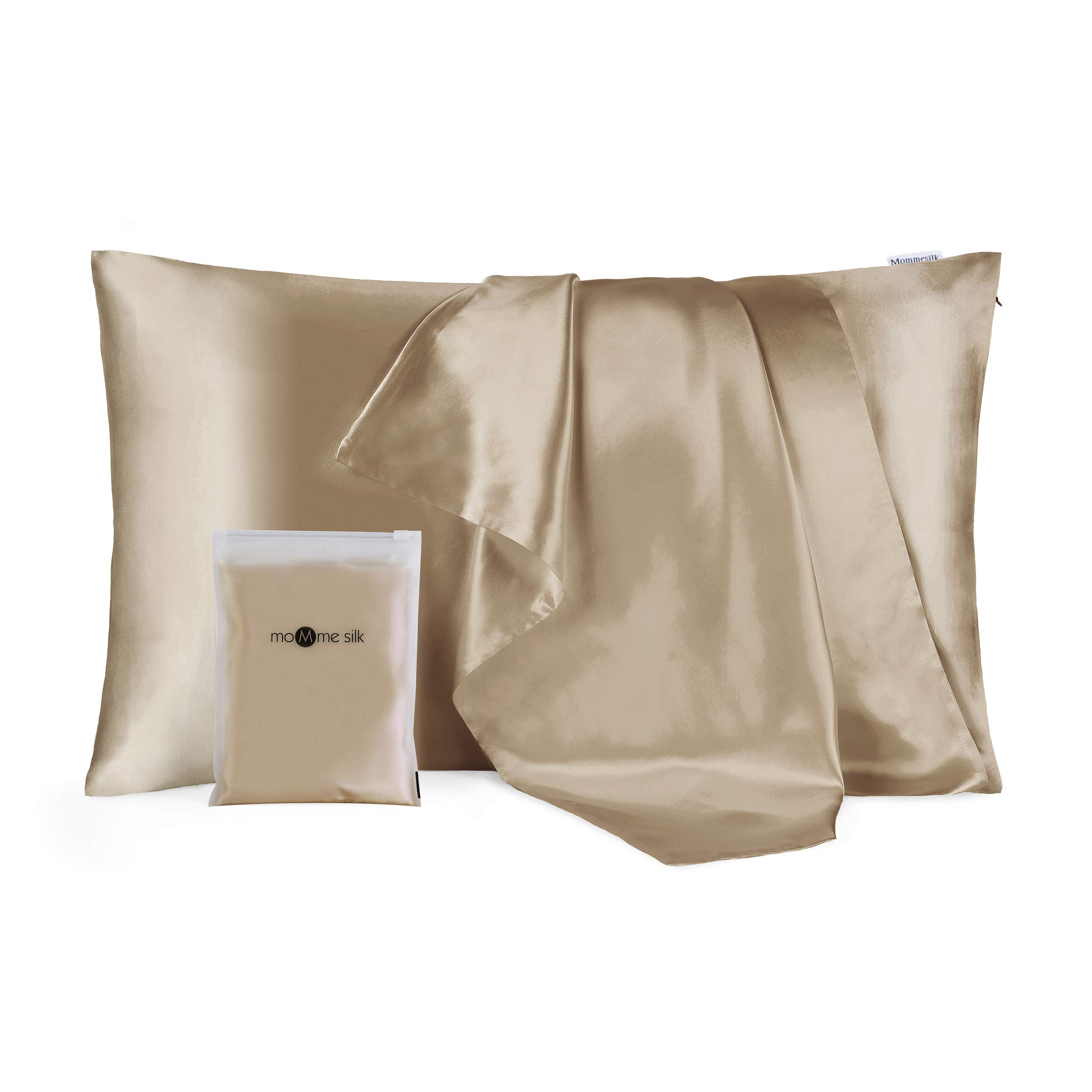 Mommesilk Silk Pillowcase for Hair and Skin Organic Real Silk 19 Momme Both Sides Silk Bed Pillow Cover with Hidden Zipper, 1 Pc (King Size, 20''x36'', Coffee)