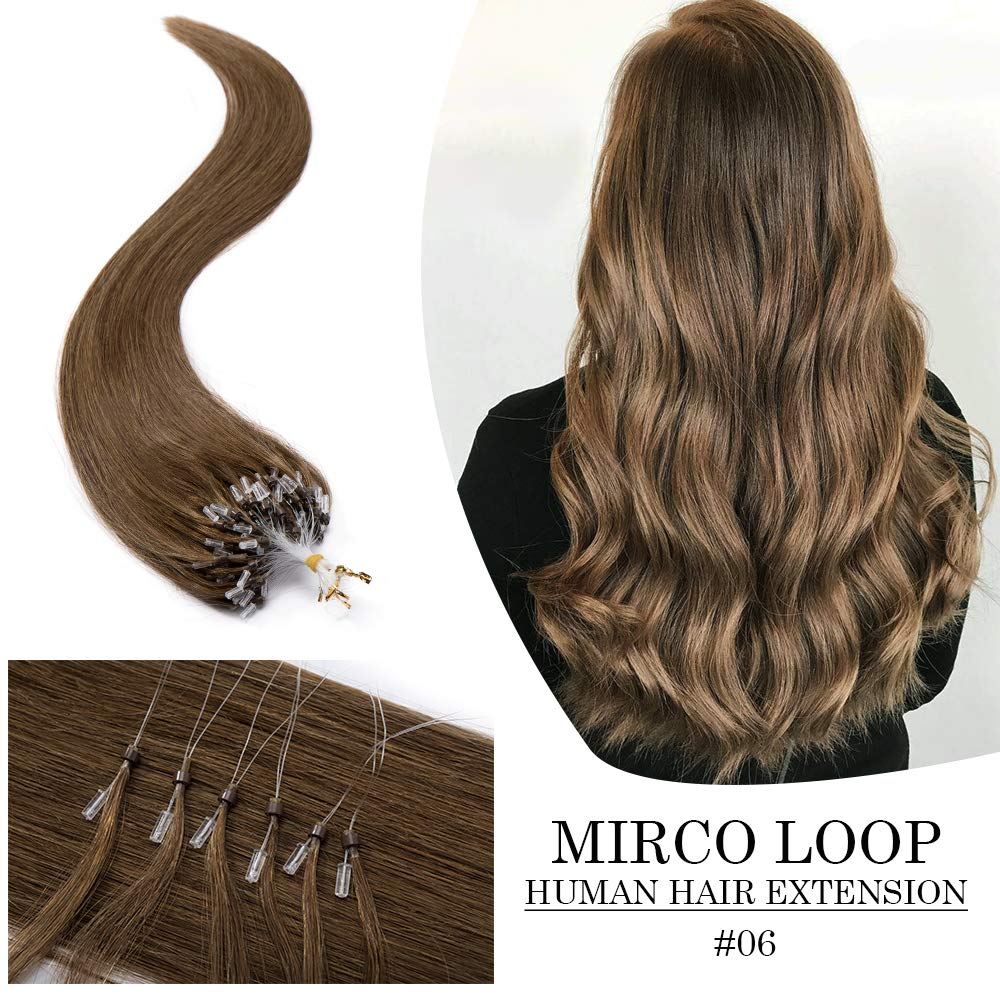Micro Link Human Hair Extensions Micro Ring Loop Remy Hair Piece Beads Cold Fusion Stick Tipped Hair Fish Line Natural Straight Real Hair Extension For Women 16 inch 50g 100 Strands #06 Light Brown