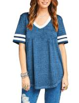 Womens Summer Short Sleeve Casual V Neck Baseball Tee Loose Cotton Sport T Shirt
