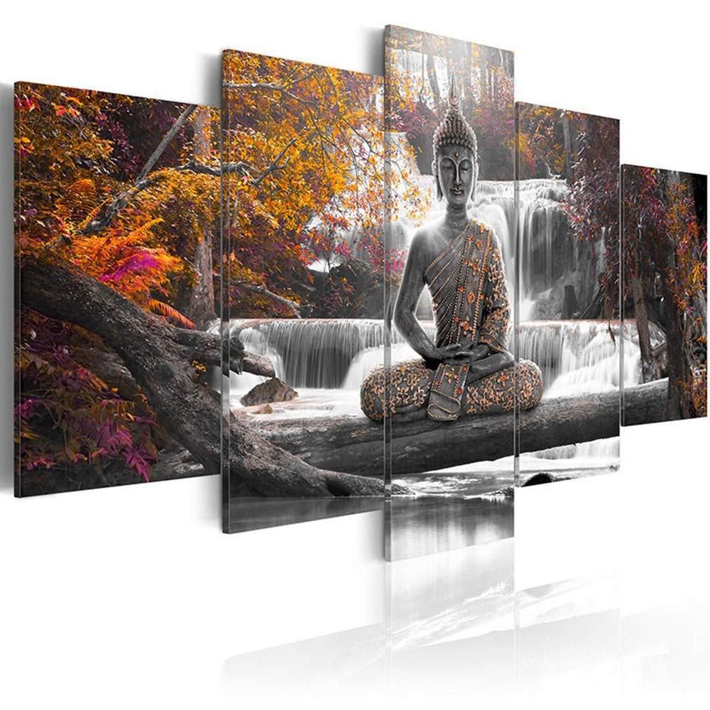 AWLXPHY Decor Buddha Waterfall Wall Art Canvas Painting Framed 5 Panels for Living Room Decoration Modern Landscape Buddha Trees Zen Stretched Artwork Giclee (Yellow, 60''x30'')