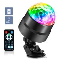 Sound Activated Party Lights with Remote Control DJ Lighting, Can by USB Charged Portable RBG Disco Ball Light, Strobe Lamp,Automatic Flash 7 Modes Stage Light.