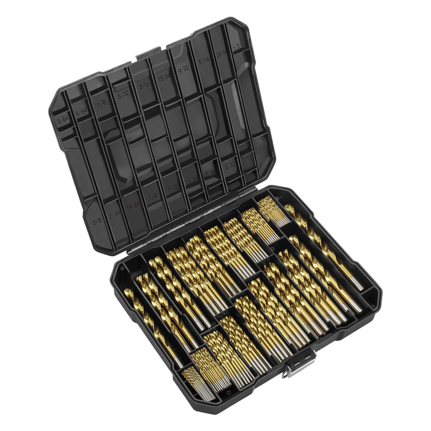 """EnerTwist Titanium Drill Bit Kit Set for Metal and Wood 230-Piece - Anti-walking 135° Tip Coated HSS from 3/64"""" up to 1/2 Inch, ET-DBA-230S"""