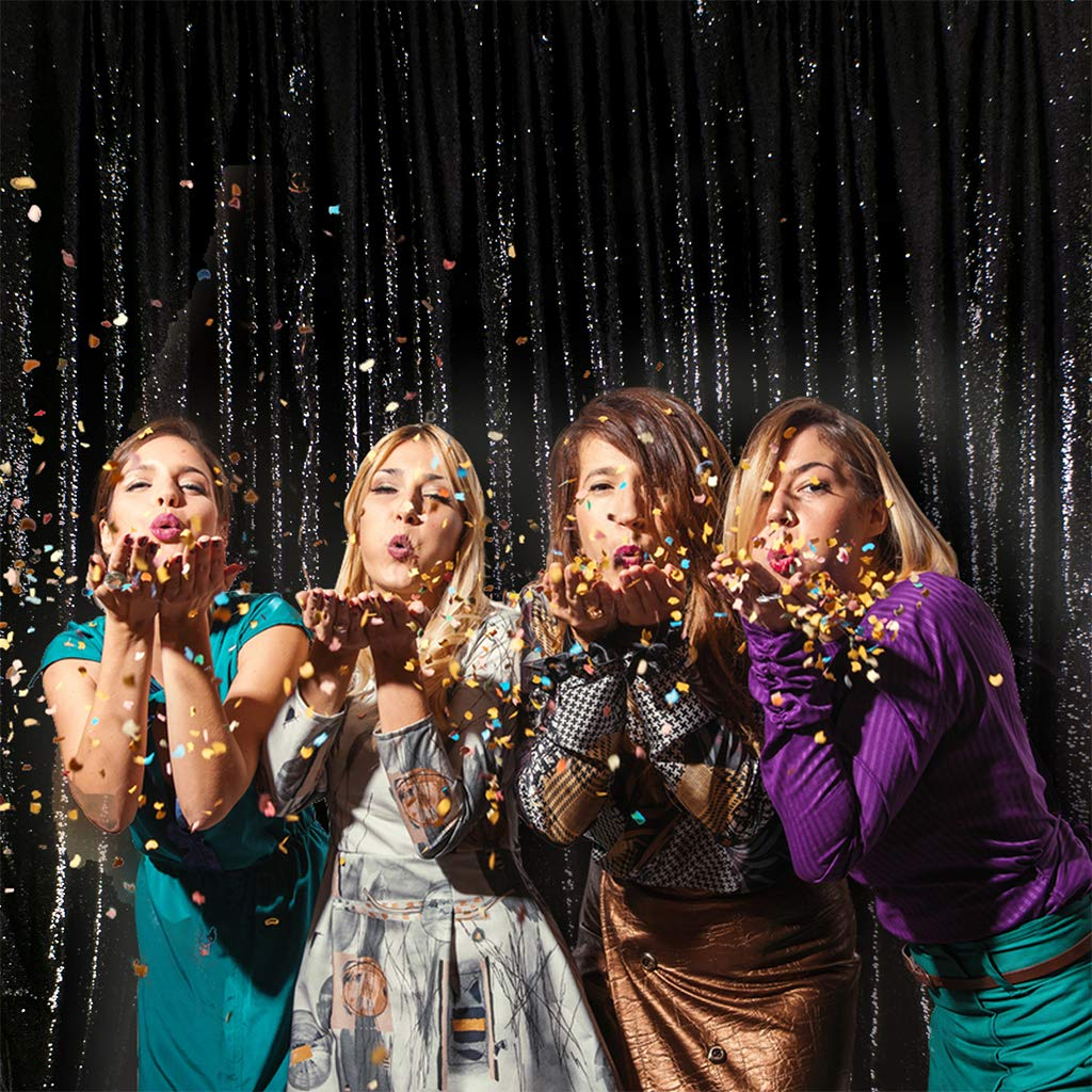 Eternal Beauty Non-Transparent Sequin Backdrop/Curtain, Glittery, Thick, Shiny Party Sequin Backdrop/Curtain (Color: Black, Size: 4ft x 8ft)