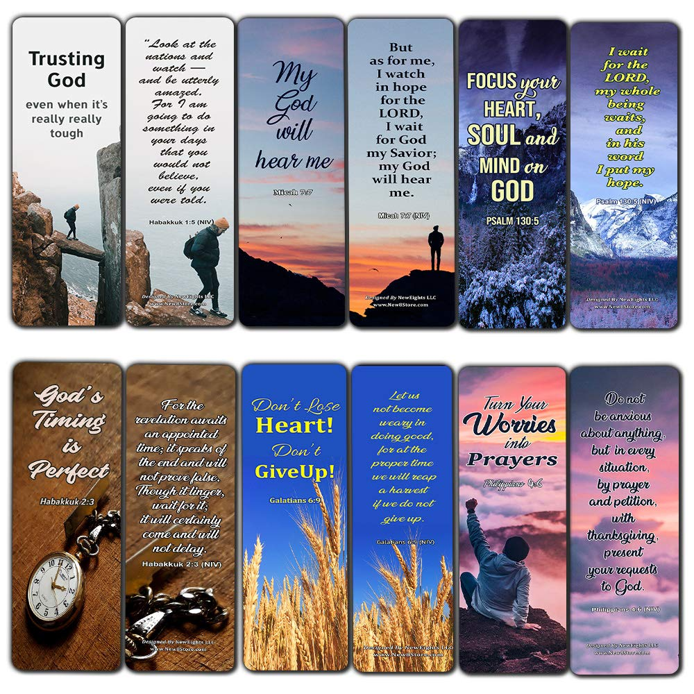 Religious Bookmarks About Waiting on God to Answer Prayer (12 Pack) - Encouraging Bible Verses for Men Women Church Supplies Cell Group Hospital Ministry Stocking Stuffers