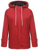 Zeagoo Womens Black Variations Lightweight Waterproof Jacket Hooded Raincoat