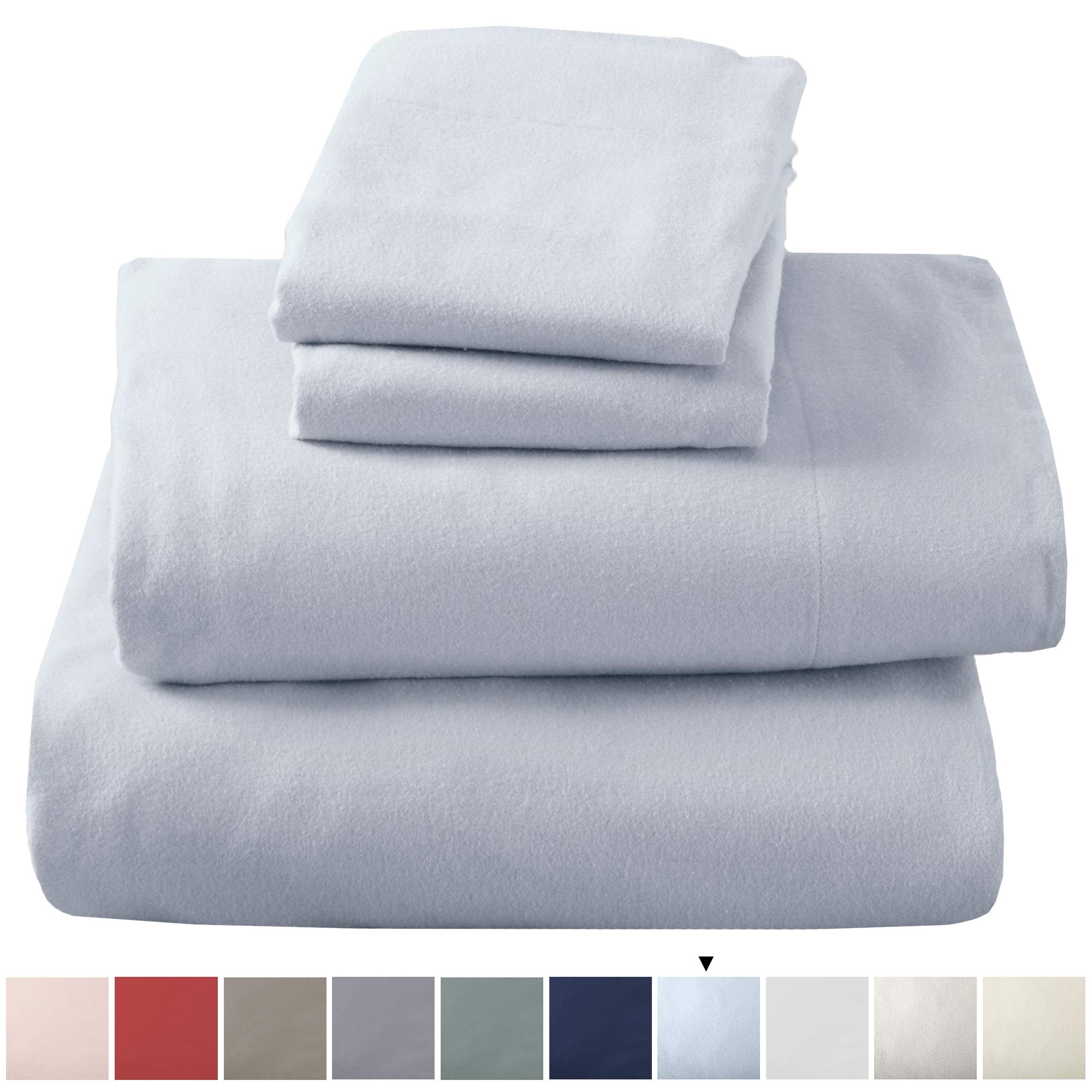 Great Bay Home Extra Soft 100% Turkish Cotton Flannel Sheet Set. Warm, Cozy, Lightweight, Luxury Winter Bed Sheets in Solid Colors. Nordic Collection (King, Pearl Blue)