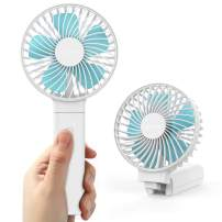 Lecone USB Handheld Fan, 4 Speeds USB Desk Fan 3350mAh Rechargeable Battery Portable Fan Strong Wind Foldable Electric Powerful Personal Cooling Fan for Travel Camping Office Home Outdoor - White