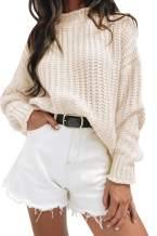 MEROKEETY Womens Turtleneck Oversized Knit Sweaters Long Sleeve Ripped Pullover Jumper Tops
