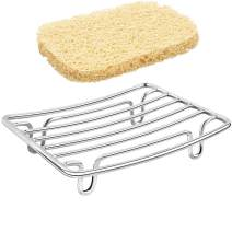 GUUKAR Stainless Steel Bar Soap Dish, Rust Proof Soap Sponge Holder, a Beige Soap Saver Lift, Self Draining Soap Dishes for Shower, Rv, Tub, Kitchen Sink and Bath