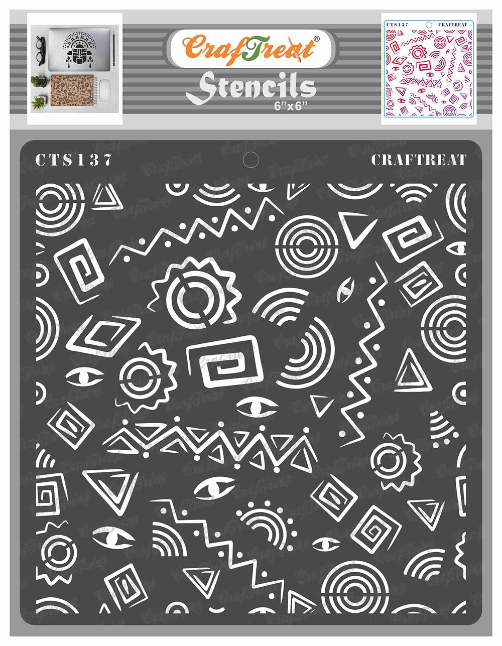 CrafTreat Tribal Stencils for Painting on Wood, Wall, Tile, Canvas, Paper, Fabric and Floor - Folk Art Background - 6x6 Inches - Reusable DIY Art and Craft Stencils - Folk Art Stencil