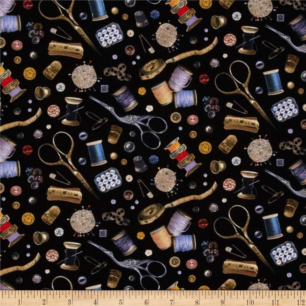 Elizabeth's Studio Stitch In Time Notions Black Fabric By The Yard