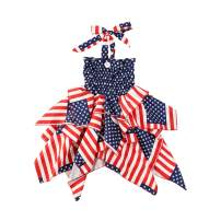 JBEELATE 4th of July Toddler Baby Girls Halter Dresses Ruffle Stars Striped Dress Independence Day Princess Beach Sundress