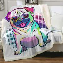 "Sleepwish Pug Fleece Blanket Kids Pet Blanket Dog Reversible Ultra Luxurious Plush Blanket Soft Sherpa Blanket Throw Blanket Pug Lover Gifts,Purple, Baby(30""x40"")"
