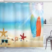"Ambesonne Seashells Shower Curtain, Holiday Theme Sunglasses Beach Summer Surfboard Daytime Sunny Starfish Seashells, Cloth Fabric Bathroom Decor Set with Hooks, 75"" Long, Blue Cream"