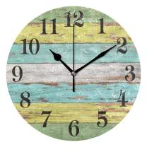 WIHVE Rustic 10 Inch Round Wooden Wall Clock Battery Operated Vintage Wood Wall Hanging Clock Wall Decor for The Kitchen Living Room Bedroom Office