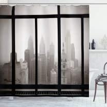 "Ambesonne City Shower Curtain, Philadelphia City Rooftop View Through Window Skyline Landmark Rooftop Travel, Cloth Fabric Bathroom Decor Set with Hooks, 84"" Long Extra, Gray Black"
