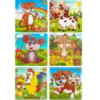 Dreampark Puzzles for Kids Ages 3-5, Wooden Jigsaw Animals Puzzles 20 Pieces Preschool Educational Learning Toys Set for Toddlers Boys and Girls (6 Pack)