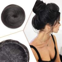 Human Hair Bun Extensions Drawstring Straight Bun Hairpiece for Updo Style Remy Hair Chignon for Women Short Donut Ponytail #1 Jet Black