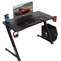 VIT 44 Inch Ergonomic Gaming Desk, Z-Shaped Office PC Computer Desk with Large Mouse Pad, Gamer Tables Pro with USB Gaming Handle Rack, Stand Cup Holder&Headphone Hook (Black)