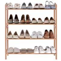 KTN 4-Tier Bamboo Shoe Rack, Shoe Storage Organizer for Entryway Hallway Bathroom with 12 battens (26.77 x 9.84 x 28.74) / (68 x 25 x 73) cm (L x W x H)