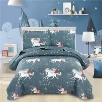 Jessy Home Unicorn Bedding 3pcs Twin Size Kids Quilt Set Cartoon Unicorn Lightweight Reversible Bedspread Coverlet Star Pattern Cute Rainbow Unicorn Super Soft All-Season Quilt Gray Blue