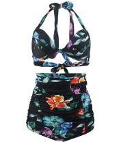 Tailloday Women's Retro Halter Neck Fashion High Waist Two Piece Bikini Set Swimsuits