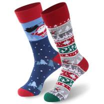 CLANDY Christmas Socks,Unisex Adult Kids Novelty Holiday Cotton Gift Socks 1-6 Pairs S/M/L