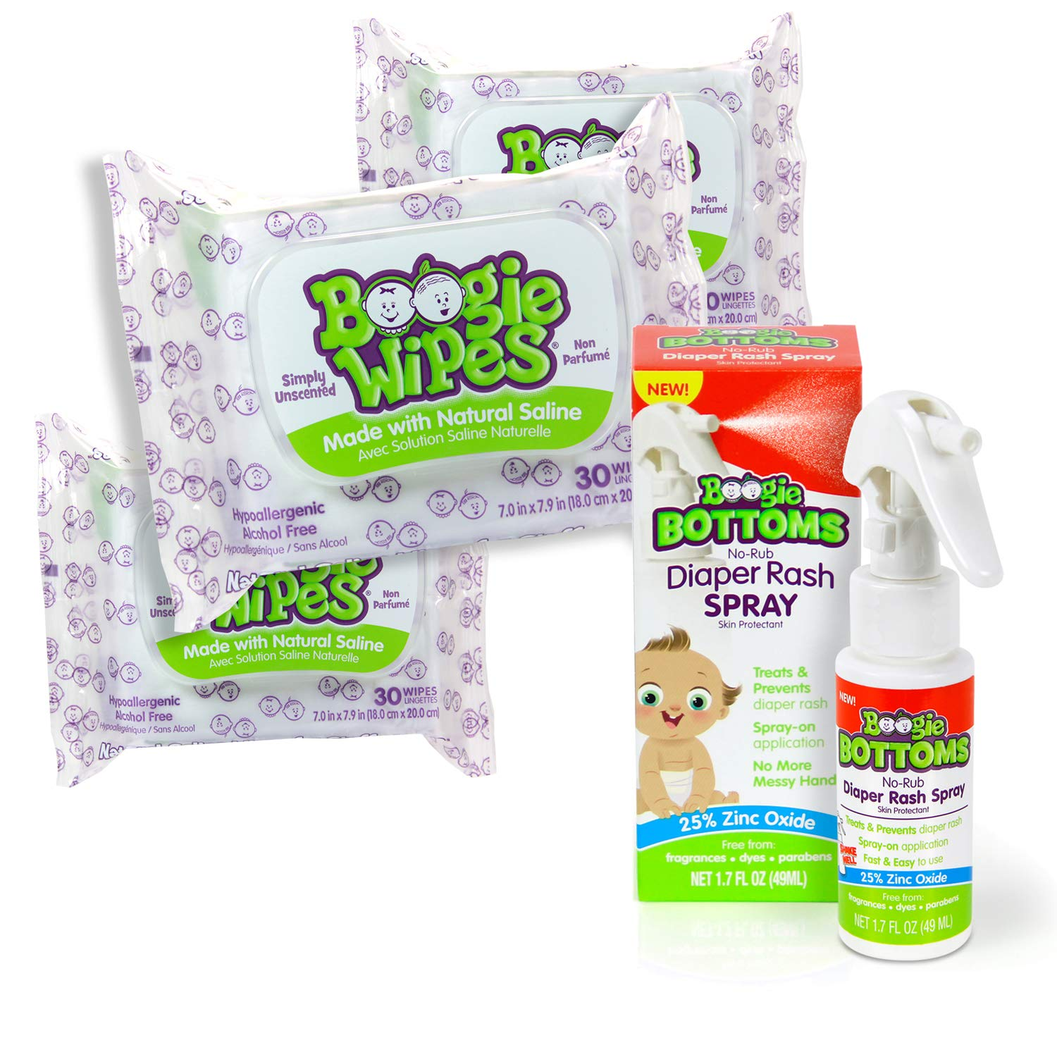 Boogie Wipes Baby Bundle, 3 Packs Unscented Boogie Wipes for Nose, Hands and Face, and Boogie Bottoms No-Rub Diaper Rash Relief Spray