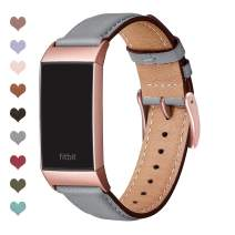 OMIU Compatible with Fitbit Charge 3 Bands for Women Men, Square Genuine Leather Classic Band Replacement for Fitbit Charge 4 & Charge 3 & Charge 3 SE(Gray/Rose Gold)