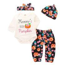 4Pcs Newborn Baby Girls Flower Outfits Set Long Sleeve Romper Flower Pants Hat Headband Spring Clothes