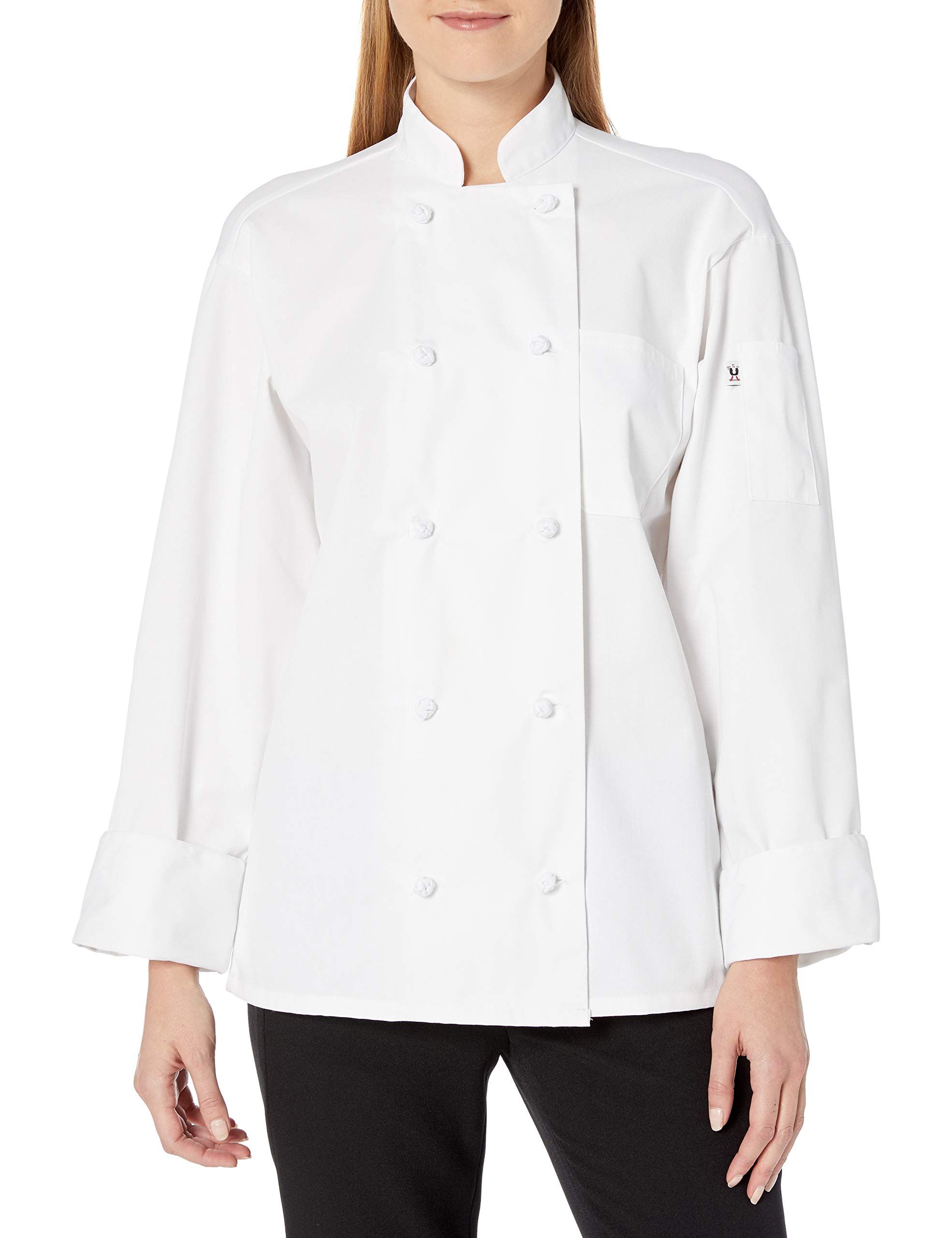 Uncommon Threads Women's Classic Knot with Mesh Chef Coat