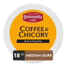 Community Coffee Coffee & Chicory Single Serve K-Cup Compatible Coffee Pods, Box of 18 Pods