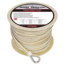 """Extreme Max 3006.2264 BoatTector Premium Double Braid Nylon Anchor Line with Thimble - 1/2"""" x 250', White & Gold"""