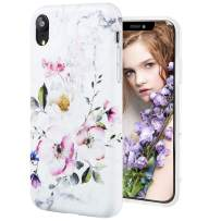 iPhone XR Case,DICHEER Cute Watercolor Pink Flower for Men Women Girls,Clear Bumper Glossy TPU Silicon Rubber Soft Cover Anti Scratch Protective Phone Case for iPhone XR 6.1 inch