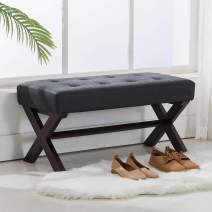 chairus PU Leather Upholstered Entryway Bench, Faux Leather 36 inch Bedroom Bench Seat with X-Shaped Wood Legs for Living Room, Foyer or Hallway - Black