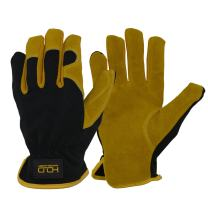 Men Leather Gardening Gloves, Utility Work Gloves for Mechanics, Construction, Driver, Dexterity Breathable Design Large