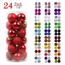 "GameXcel Christmas Balls Ornaments for Xmas Tree - Shatterproof Christmas Tree Decorations Perfect Hanging Ball Red 1.6"" x 24 Pack"