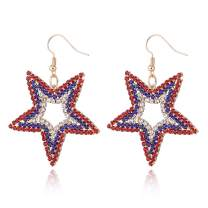 MTSCE USA American Flag Dangle Drop Rhinestone Earrings for Women, Patriotic 4th of July Independence Day Gift, Red White Blue Bead Earrings Mother's Day Gift
