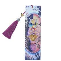 Umbresen Leather Bookmark DIY 5D Special Shaped Diamond Painting by Number Kits,Beaded Tassel Book Marks Art Craft Mosaic Making Gifts for Christmas, Thanksgiving, New Year, Birthday (Owl 1)