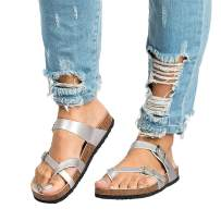 Ermonn Womens Gladiator Flat Sandals Cross Toe Buckle Strappy Cork Summer Slides