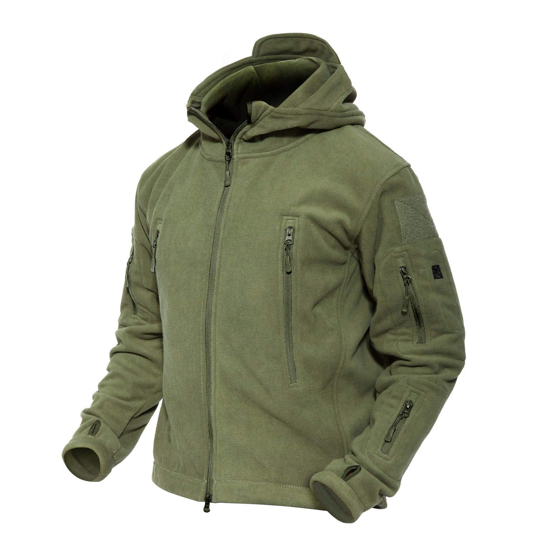 MAGCOMSEN Men's Hooded Fleece Jacket Multi-Pockets Warm Military Tactical Jacket