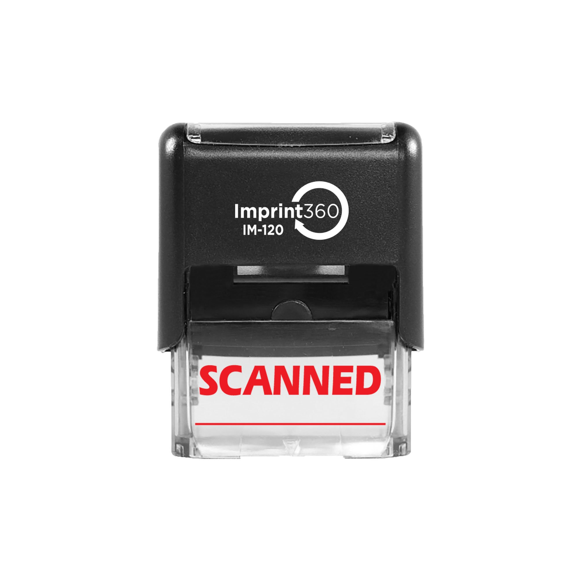 """Imprint 360 AS-IMP1018 - Scanned w/Signature Line, Heavy Duty Commerical Quality Self-Inking Rubber Stamp, Red Ink, 9/16"""" x 1-1/2"""" Impression Size, Laser Engraved for Clean, Precise Imprints"""