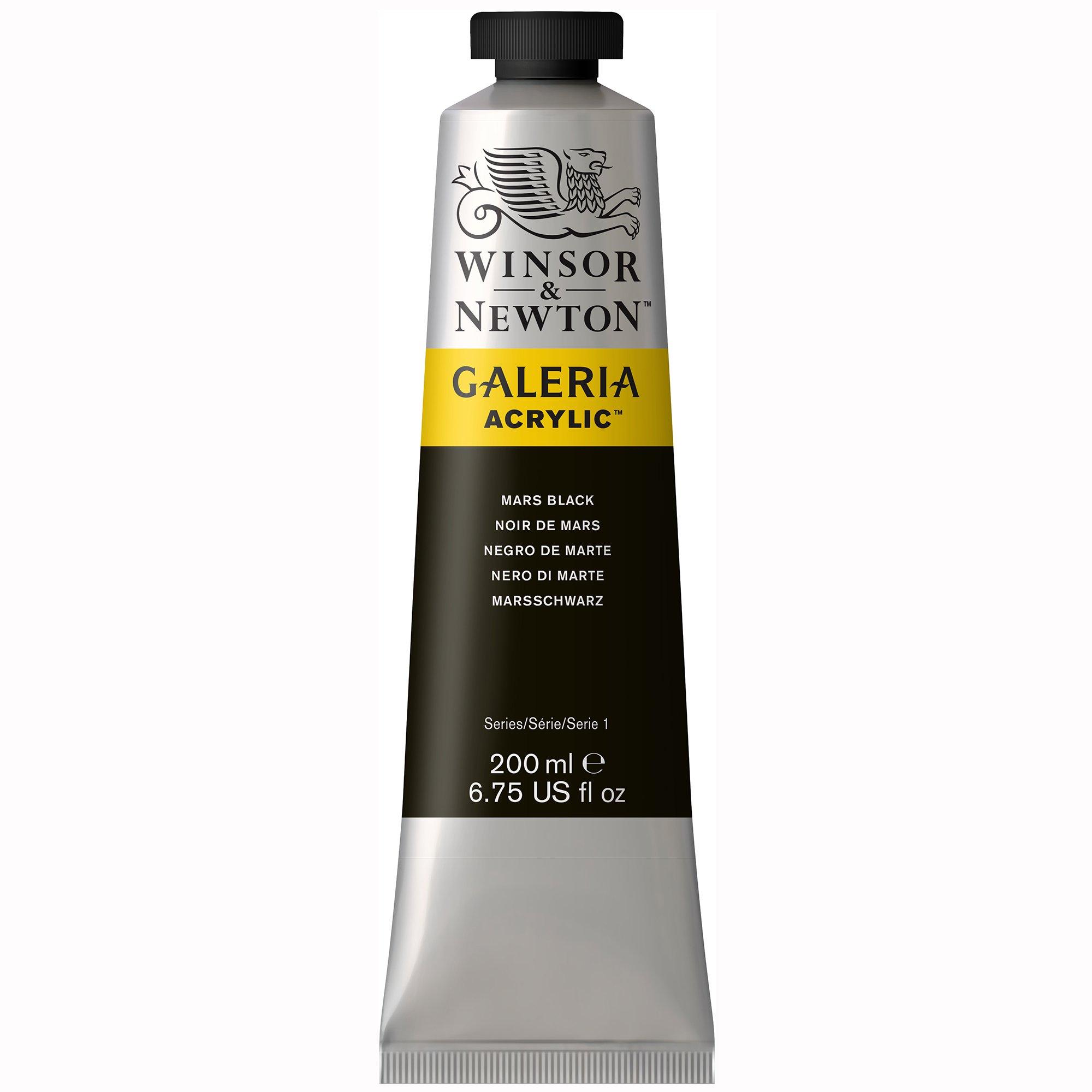 Winsor & Newton , Mars Black Galeria Acrylic Paint, 200ml Tube, 200-ml