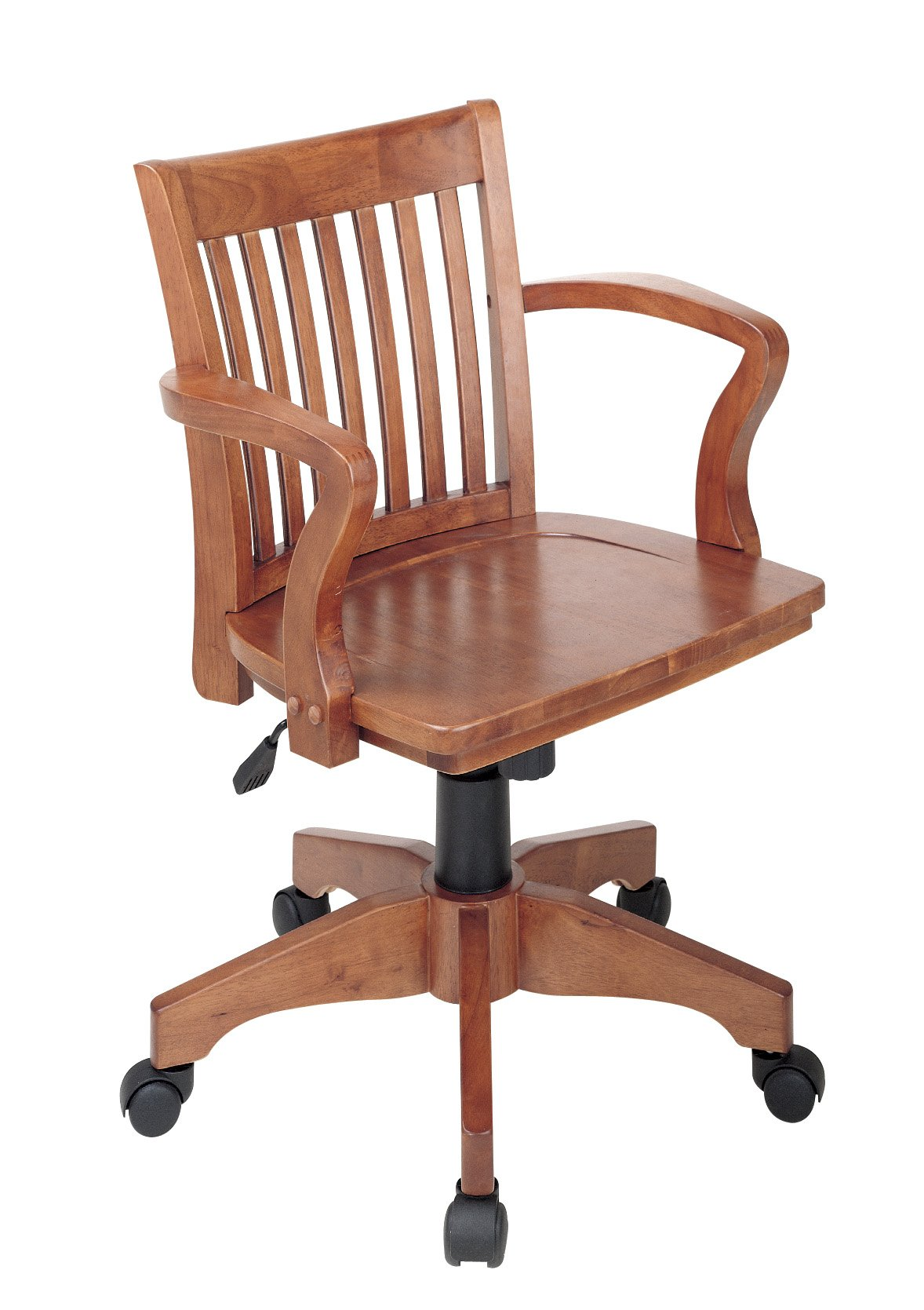 Office Star Deluxe Wood Bankers Desk Chair with Wood Seat, Fruit Wood