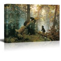 """wall26 - Black Bears in Forest Painting - Canvas Art Wall Art - 24""""x36"""""""