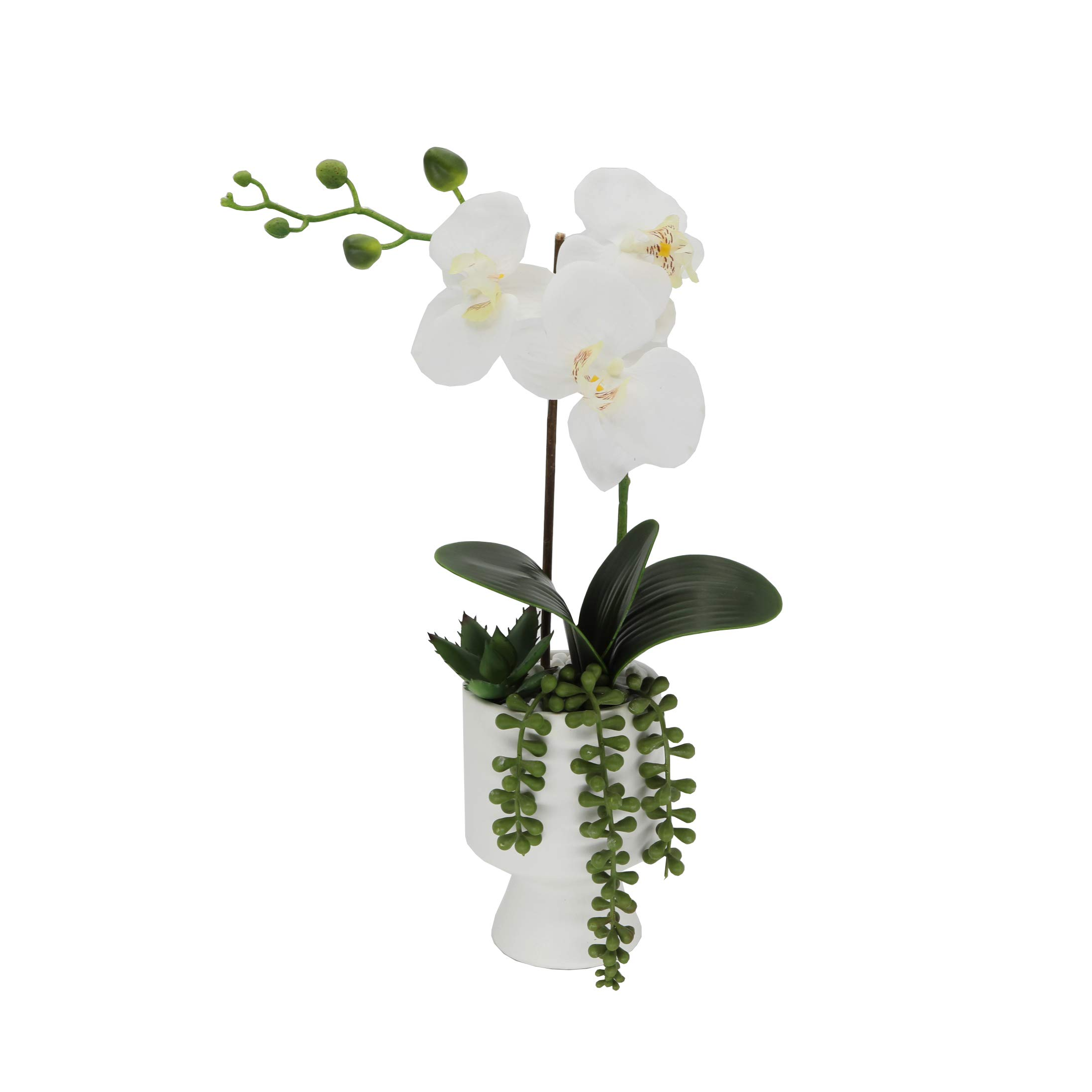 Flora Bunda Artificial Flower 16 in H Real- Touch Orchids in Ceramic Pot,White