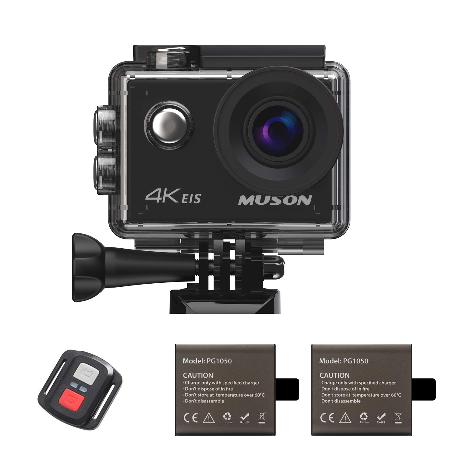 Muson Action Camera 4K 16MP Underwater Cam Waterproof 30M WiFi Sports Camera 2.0-inch LCD Monitor 170 Degree Wide-Angle with Dual 1050mAh Rechargeable Battery Motion Camera Built in Mic